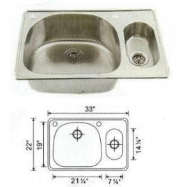 Stainless steel sink Overall Size: 33x22``, Big bowl: 21-3/8x18-3/4x9``, Small b