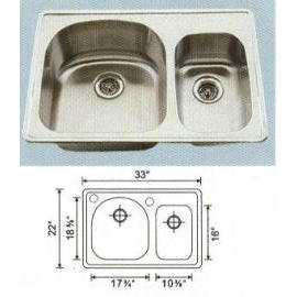 Stainless steel sink Overall Size: 33x22``, Big bowl:17-5/8x18-1/4x9``, Small bo
