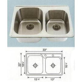 Stainless steel sink Overall Size: 33x22``, Big bowl:15-3/8x18-3/8x9``, Small bo (Раковины из нержавеющей стали Габаритные размеры: 33x22``, большую миску :15-3 / 8x18-3/8x9``, Малый Бо)