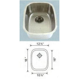 Stainless steel sink Overall Size: 12-1/2x18``, Big bowl: 10-3/8x15-7/8x7``