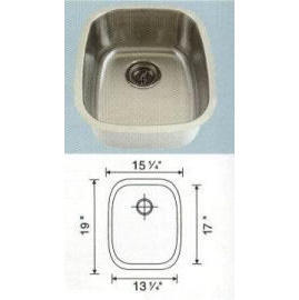 Stainless steel sink Overall Size: 15x18-1/2``, Big bowl: 12-7/8x16-1/2x8``