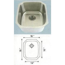 Stainless steel sink Overall Size: 16-1/4x18-1/18``, Big bowl: 13-3/4x15-3/4x9``
