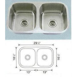 Stainless steel sink Overall Size: 29-1/4x18-1/2``, Big bowl: 13x16-1/2x8``