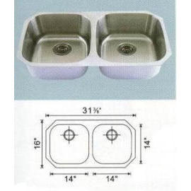 Stainless steel sink Overall Size: 31-3/8x16``, Big bowl: 14x14x8``
