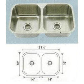 Stainless steel sink Overall Size: 31-1/8x17-3/8``, Big bowl: 13-3/4x15-3/4x8-1/