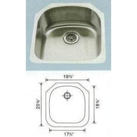 Stainless steel sink Overall Size: 18-3/8x20-3/8``, Big bowl: 17-1/2x18-5/8x9``