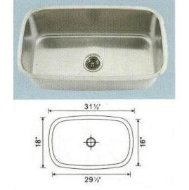 Stainless steel sink Overall Size: 31-1/2x18-3/8``, Big bowl: 29-1/4x16-1/4x10``