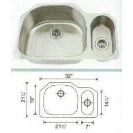 Stainless steel sink Overall Size:31-3/4x20-7/8``, Big bowl: 21-3/8x18-3/4x9``,