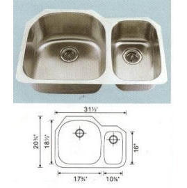Stainless steel sink Overall Size:31-1/2x20-1/2``, Big bowl: 17-5/8x18-1/4x9``,