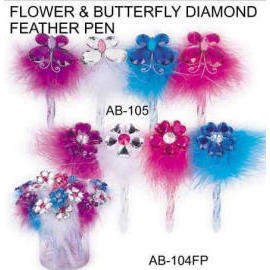 FLOWER & BUTTERFLY DIAMOND FEATHER PEN (ЦВЕТОК & BUTTERFLY DIAMOND ПЕРО ПЕН)