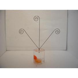 Acrylic liquid filled memo clip holder w/3 wire clip