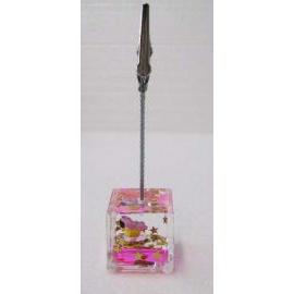 Acrylic liquid filled memo clip holder w/Alligator clip