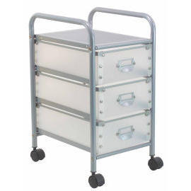 Storage trolley with 3 PP drawers