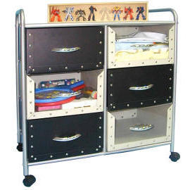 3-tier storage trolley/rack with 6 Cardboard drawers (3 уровня, тележки для хранения / стойка с 6 Картонные ящики)