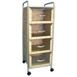 4-tier storage trolley/rack with 4 cardboard drawers (4 уровня, тележки для хранения / стойка с 4 картонные ящики)