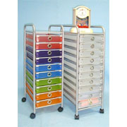 Multicolored Storage rack/trolley With 10 Drawers