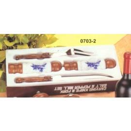 Carving knife & Fork, Salt & Pepper Mill Set (Couteau & Fork, Salt & Pepper Mill Set)