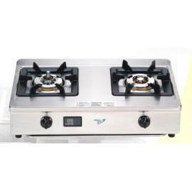Two burners of counter top gas stove with Timer (Две горелки плиты счетчик газа с таймером)