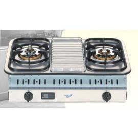 Two gas burners of built in gas stove (Два газовых горелок построен в газовой плите)