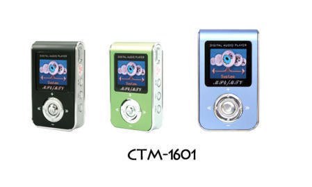 CTM-1601 Flash MP3 Player with 1.3-Inch 65K LCD, Supports MTV/Movie Player and P