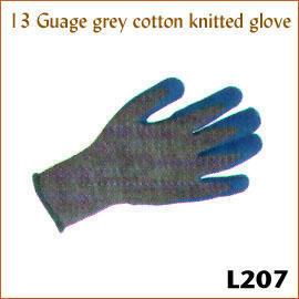 13 Guage grey cotton knitted glove L207 (13 Калибровочная хлопка серой вязаной перчатке L207)