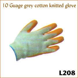 10 Guage grey cotton knitted glove L208 (10 Калибровочная хлопка серой вязаной перчатке L208)