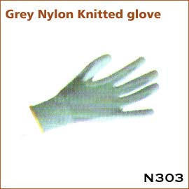 Grey Nylon Knitted glove N303