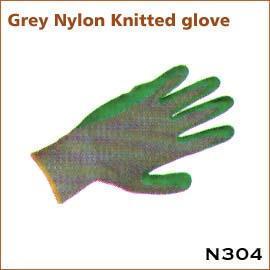 Grey Nylon Knitted glove N304