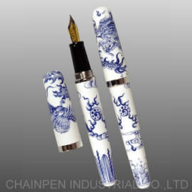 504DX Blue and White Dragon and Phoenix Fountain Pen in Hand-painted Design (504DX Blue and White Dragon und Phoenix Fountain Pen in Hand-painted Design)