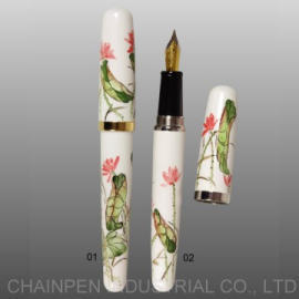 504L Hand-painted Lotus Fountain Pen in Gold Plating (504L Handgemalte Lotus Fountain Pen in Gold Plating)