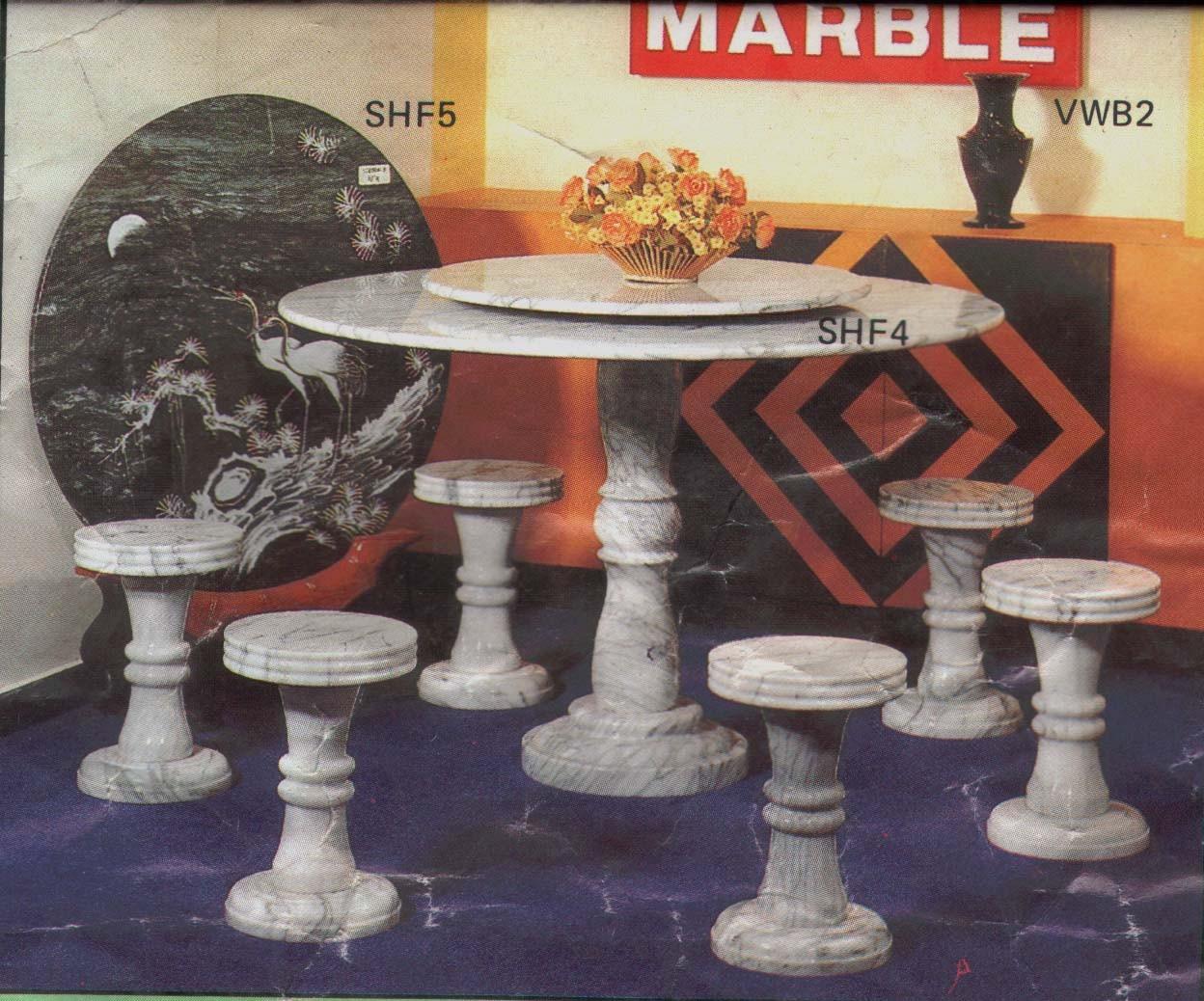 Marble round table & stools (Мраморные круглый стол & стулья)