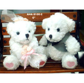 The Bride & Groom Teddy Bears w/Pink Heart