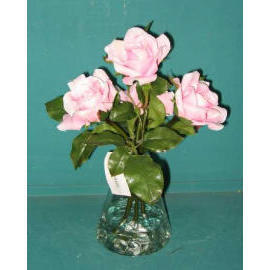 11``H POTTED ROSE IN GLASS VASE