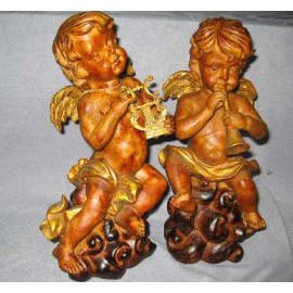 10``H POLYRESIN CHERUB CANDLE HOLDER (10``H полистоуна CHERUB Candle Holder)