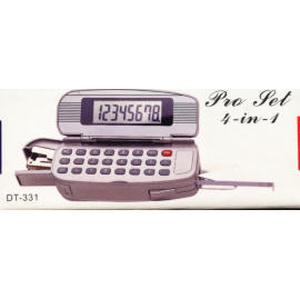 Calculator with tape measure