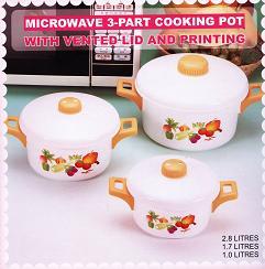 Microwave 3-part cooking pot (Микроволновые 3-х компонентные Кастрюли)