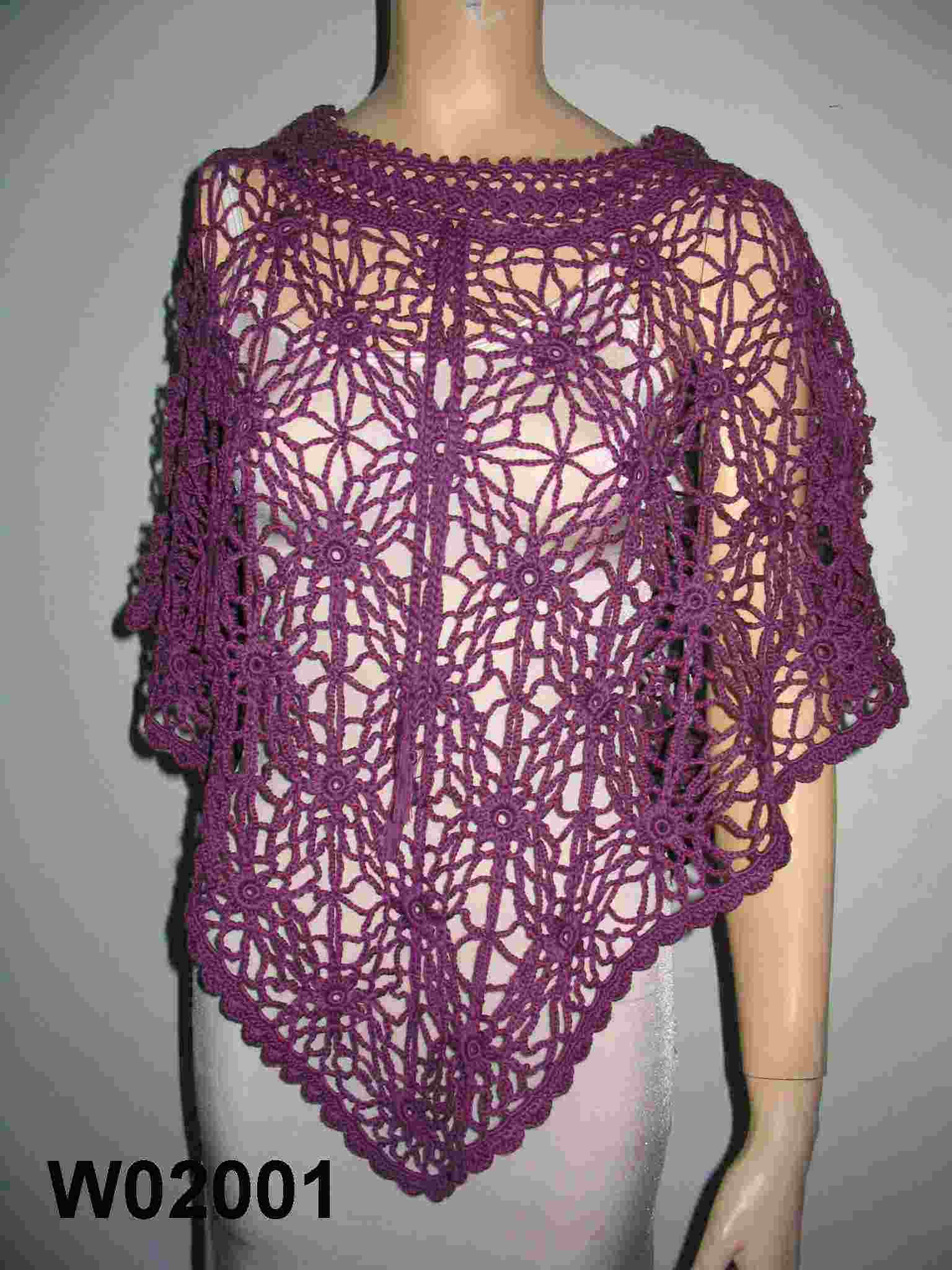 Hand Knitted Crochet Poncho Sweaters