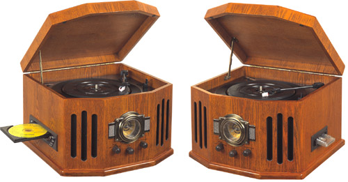 Classic Wood Cabinet Phonograph / CD Player