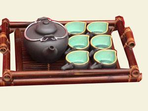 Ceramic Bamboo Tea Set On Bamboo Tea Tray