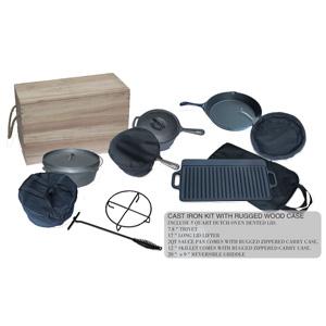 Cast Iron Kit With Rugged Wood Case (Чугунные комплекте с Rugged Wood дело)