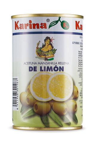 Olives Stuffed With Lemon Presented In 10-ounce Cans - Aceitunas Karina