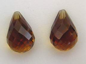 Whisky Quartz Drops Pair 12x8mm