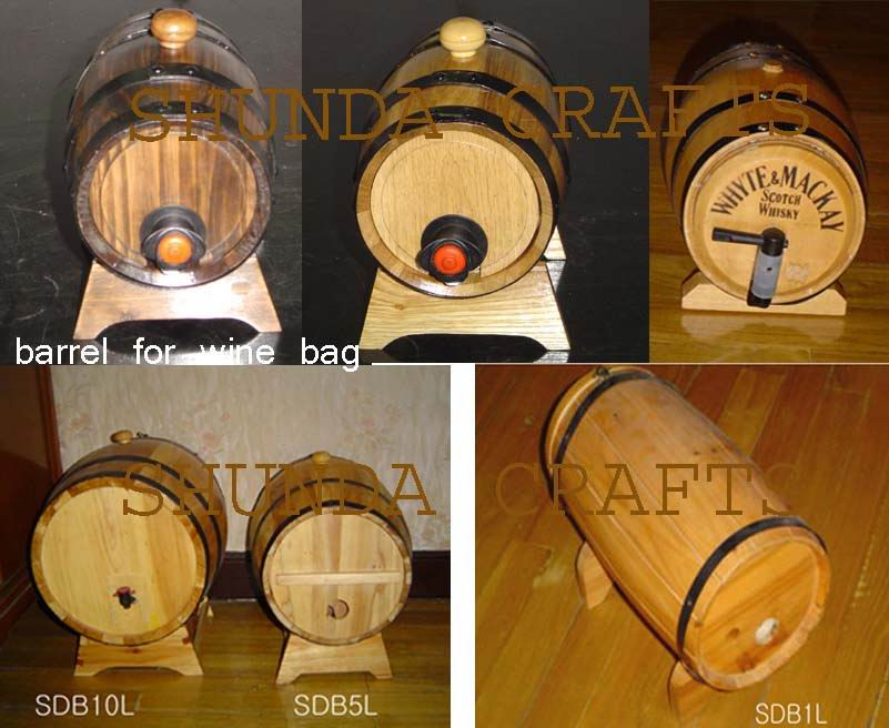 Wooden Barrel For Wine Bag