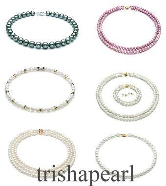 Chinese Freshwater Pear, Pearl Necklace, Pearl Earring (Chinesische Süßwasser Birne, Perlenkette, Pearl Earring)