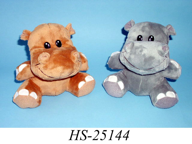 Плюшевые Бегемот.  18cm Sitting Hippo in 2 asstd.color: Brown & Grey.