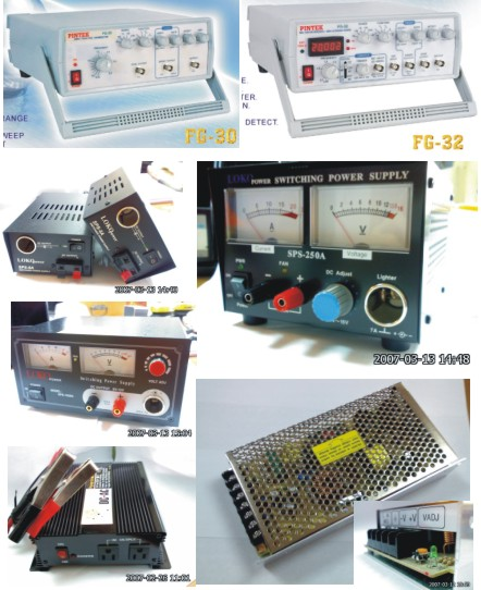 Function Generator, DC Power Supply, Oscilloscope (Générateur de fonctions, DC Power Supply, Oscilloscope)