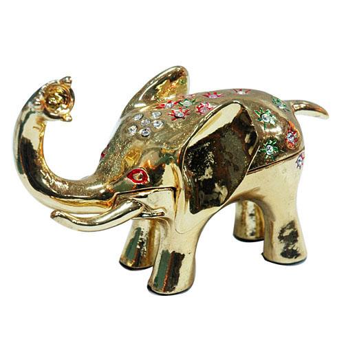 Golden Elephant Metal Jewellery Box-Artificial Crafts (Золотой слон металлов ювелирные изделия Box-Искусственные ремесла)