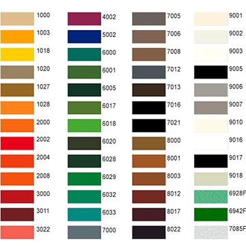 Powder Coating Colors (Порошковые Покрытия цвета)