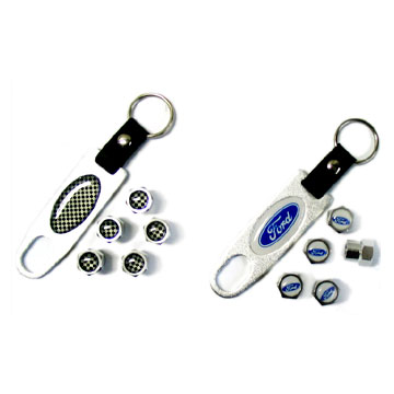 Key Chain with 5 Tire Valve Caps