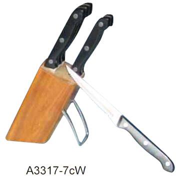 6 Piece Steak Knife Set Including Wood Block